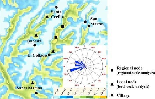 Mapa de vent de la Vall del Jubera