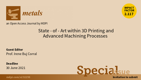 """Volum especial de la revista Metals """"State-of-Art within 3D Printing and Additive Manufacturing"""""""